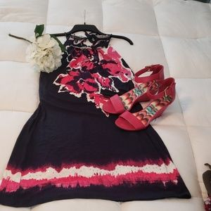 I-N-C Navy and Pink Dress